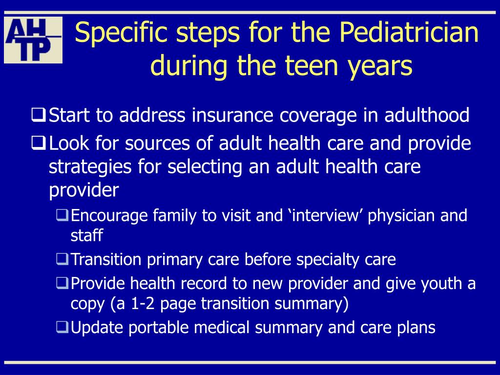 Specific steps for the Pediatrician