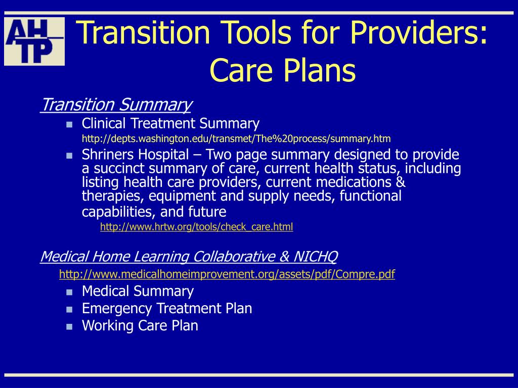 Transition Tools for Providers: Care Plans