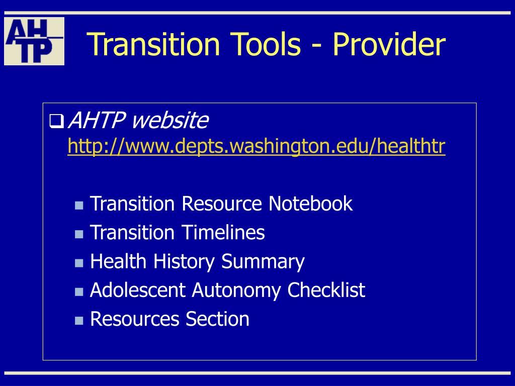 Transition Tools - Provider