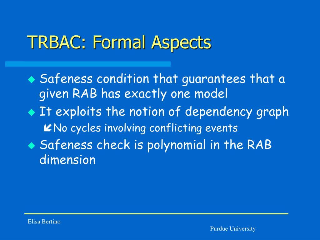 TRBAC: Formal Aspects
