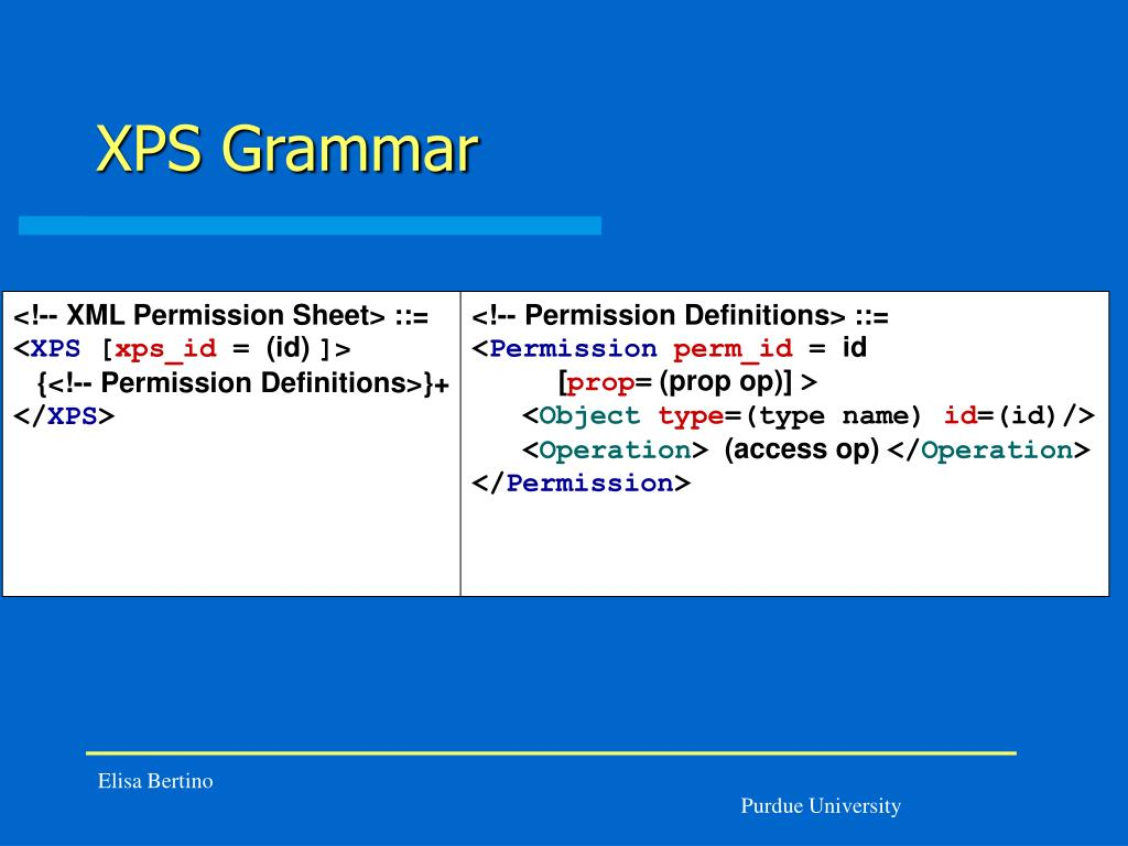 XPS Grammar