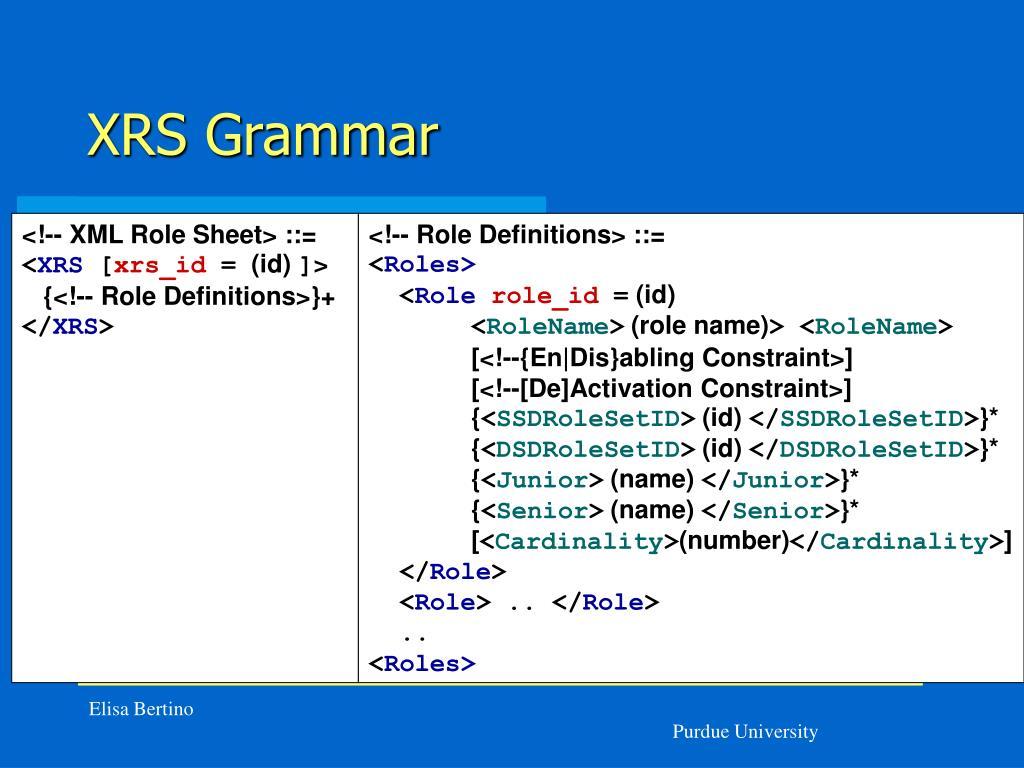 XRS Grammar