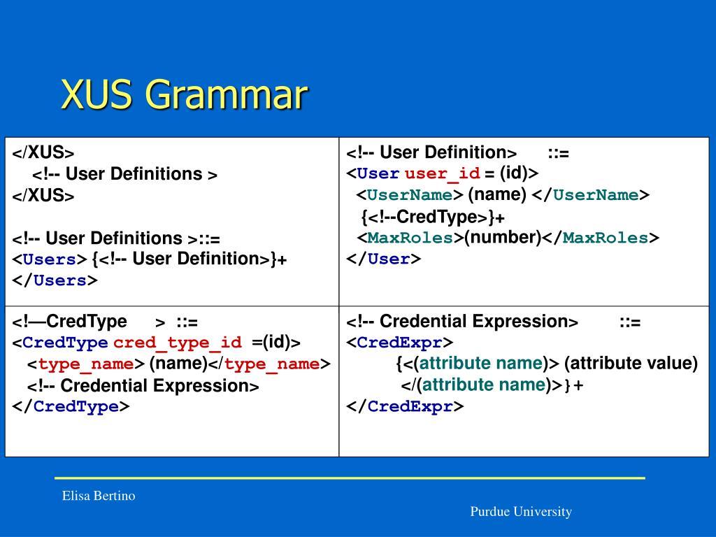 XUS Grammar