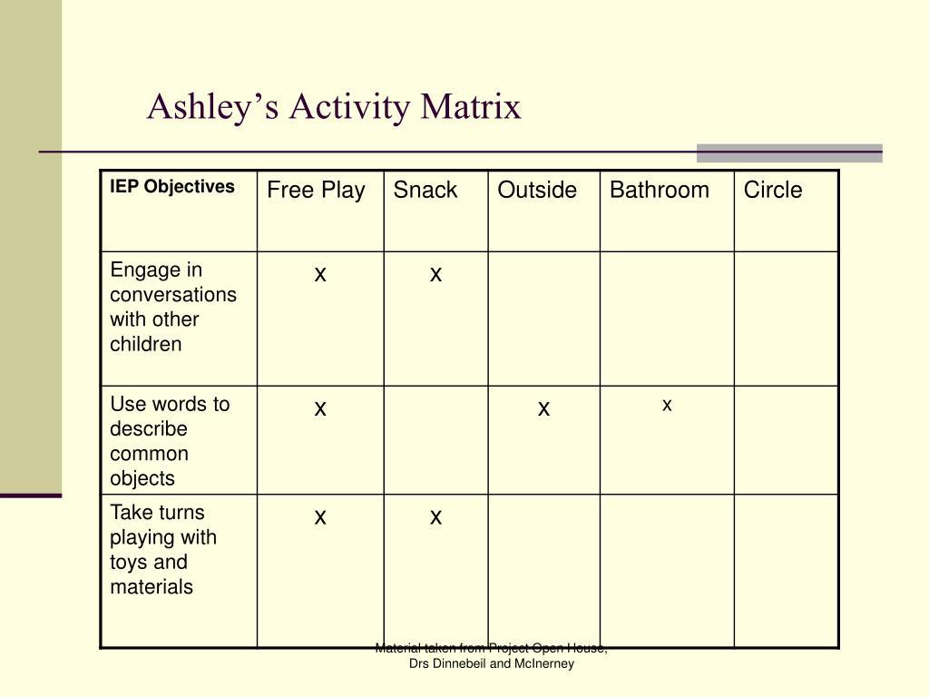 Ashley's Activity Matrix
