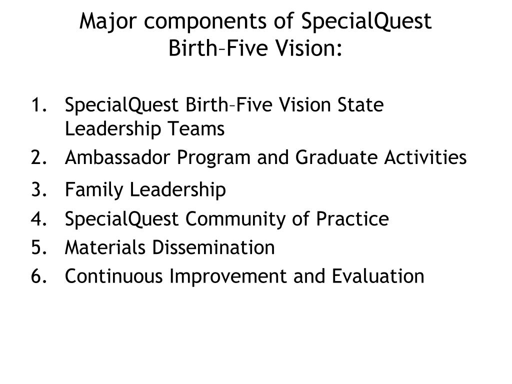 Major components of SpecialQuest