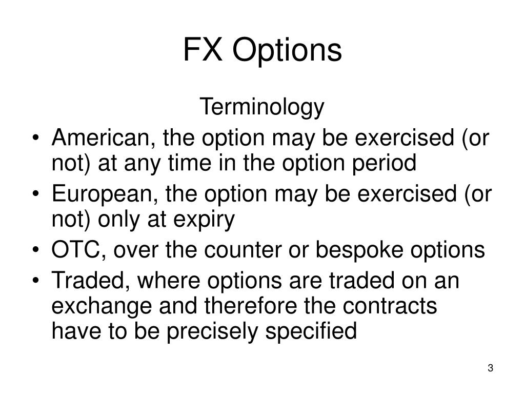 Fx options glossary