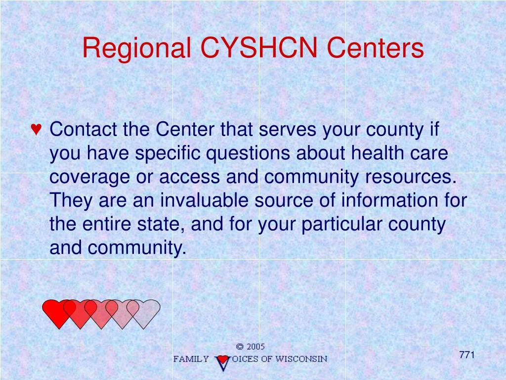 Regional CYSHCN Centers