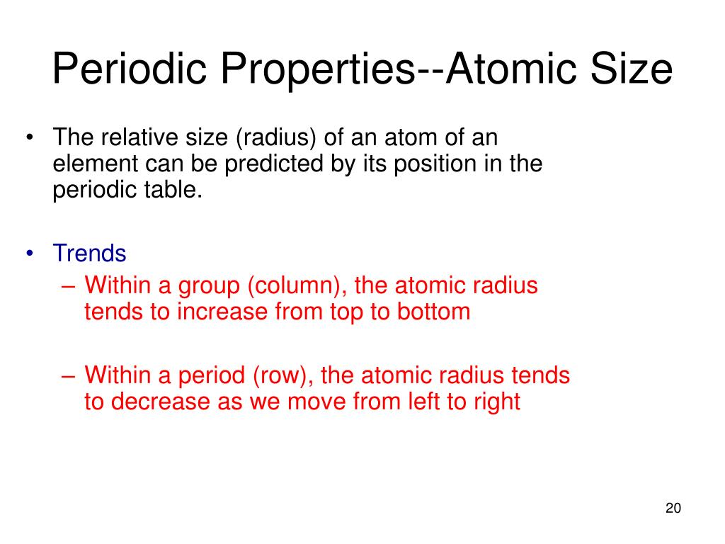 Ppt orbital diagrams and electron configuration - Periodic table with radius size ...