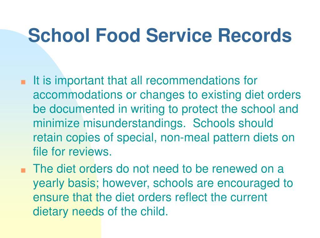School Food Service Records