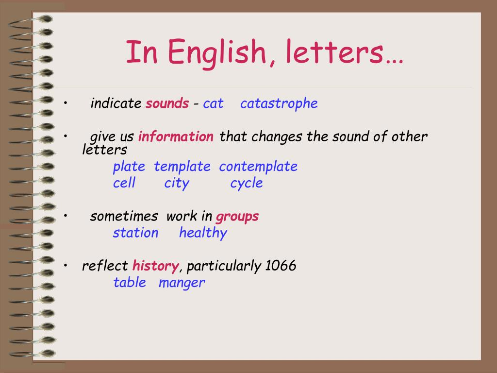 In English, letters…
