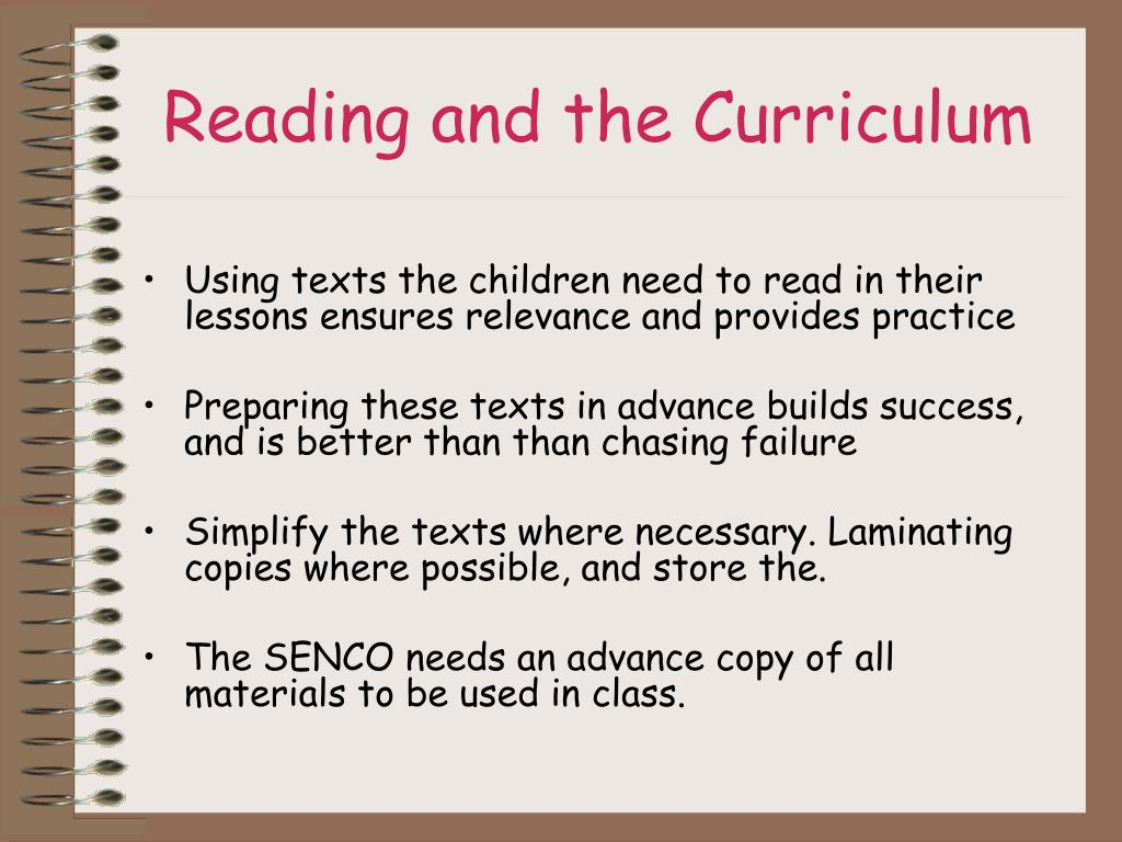 Reading and the Curriculum