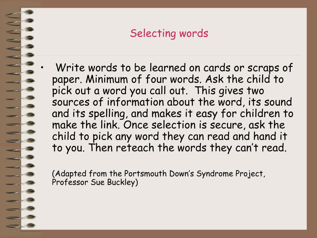 Selecting words