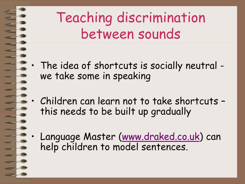 Teaching discrimination between sounds