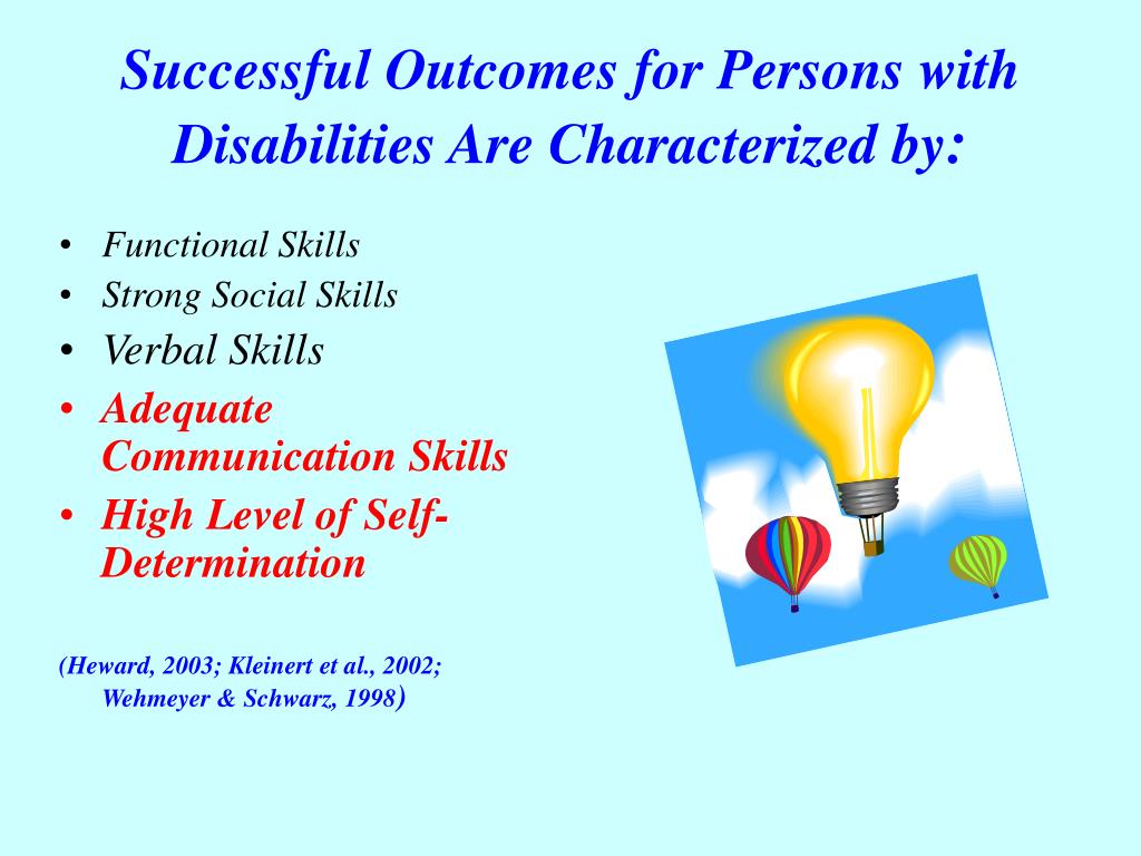 Successful Outcomes for Persons with Disabilities Are Characterized by