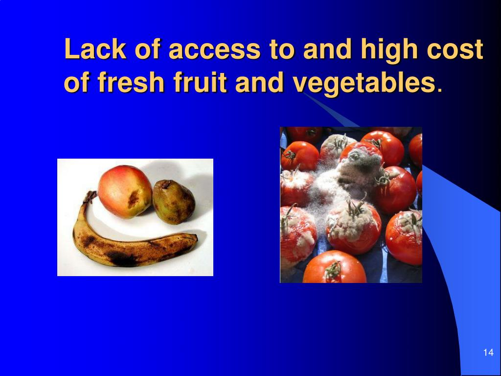 Lack of access to and high cost of fresh fruit and vegetables