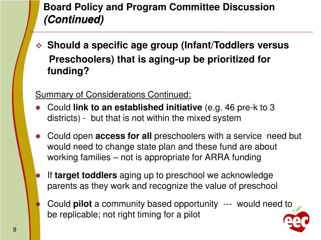 Board Policy and Program Committee Discussion