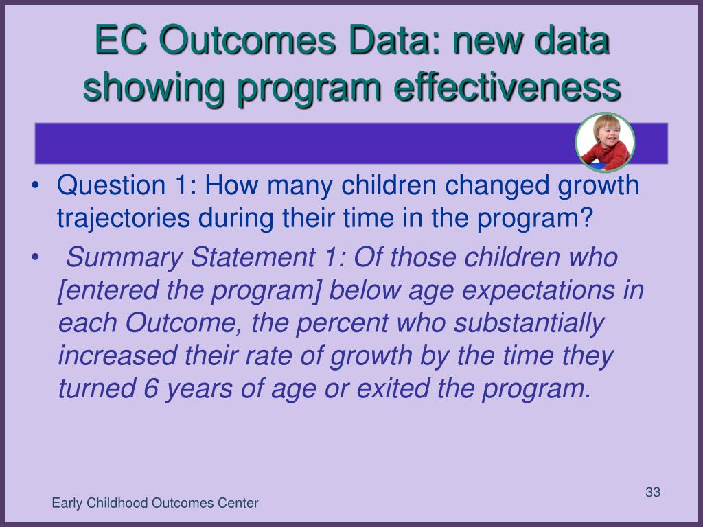 EC Outcomes Data: new data showing program effectiveness