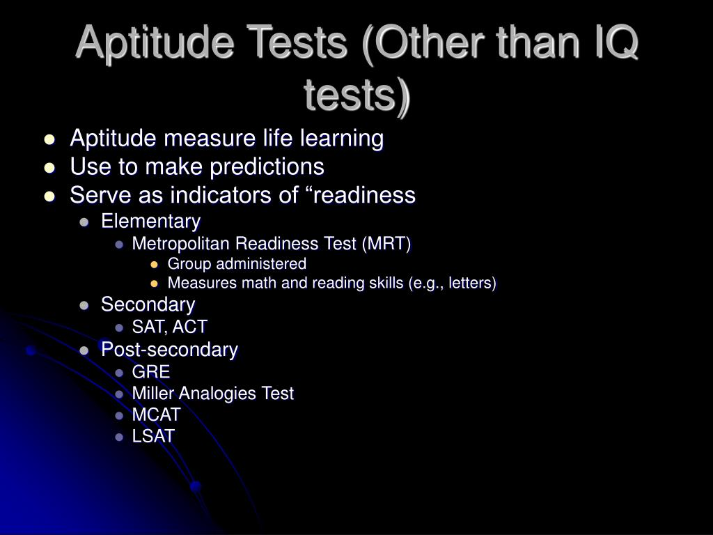Aptitude Tests (Other than IQ tests)