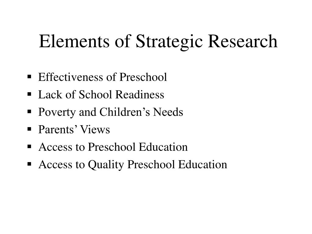 Elements of Strategic Research