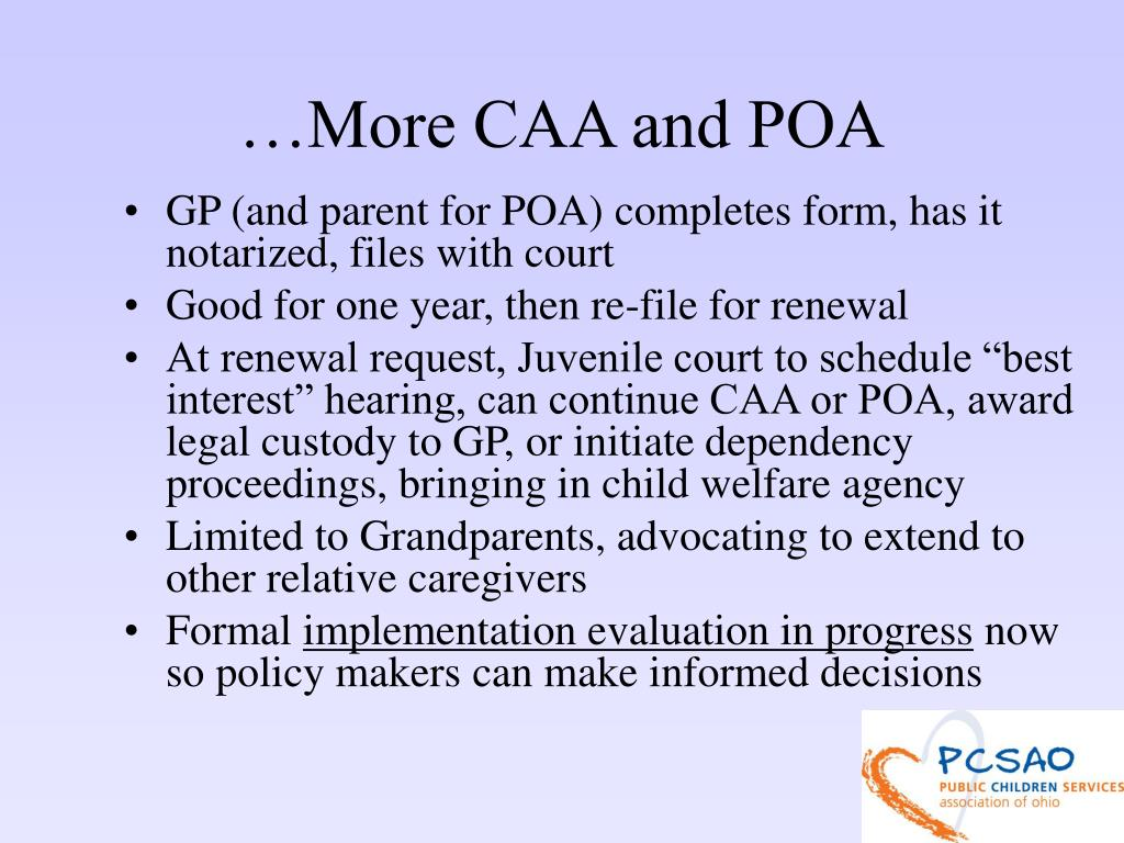 …More CAA and POA