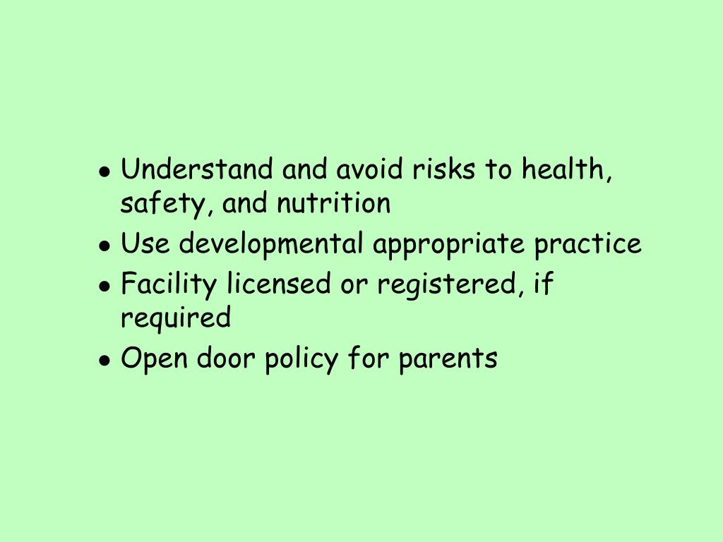 Understand and avoid risks to health, safety, and nutrition