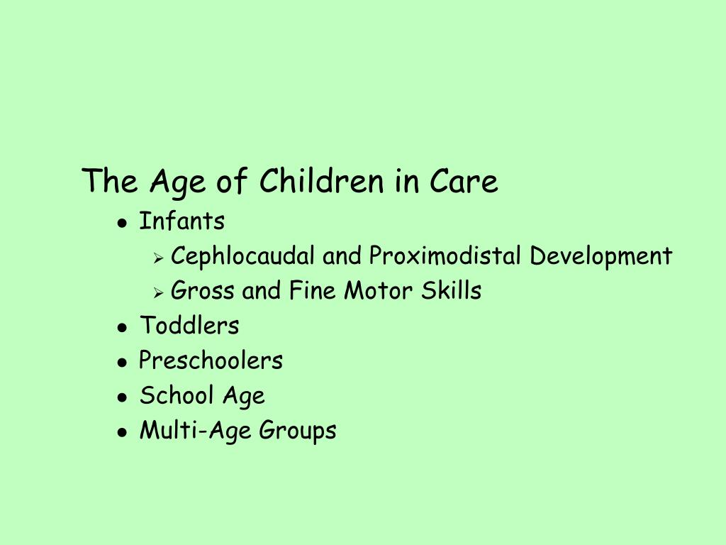 The Age of Children in Care