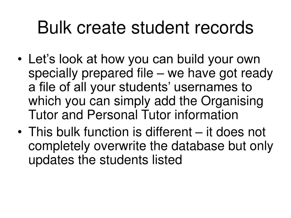 Bulk create student records