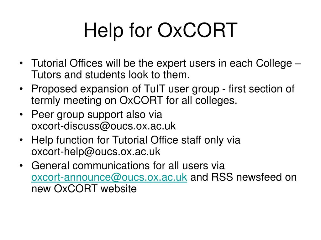 Help for OxCORT