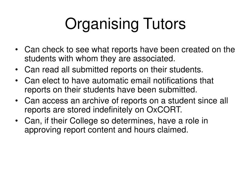 Organising Tutors