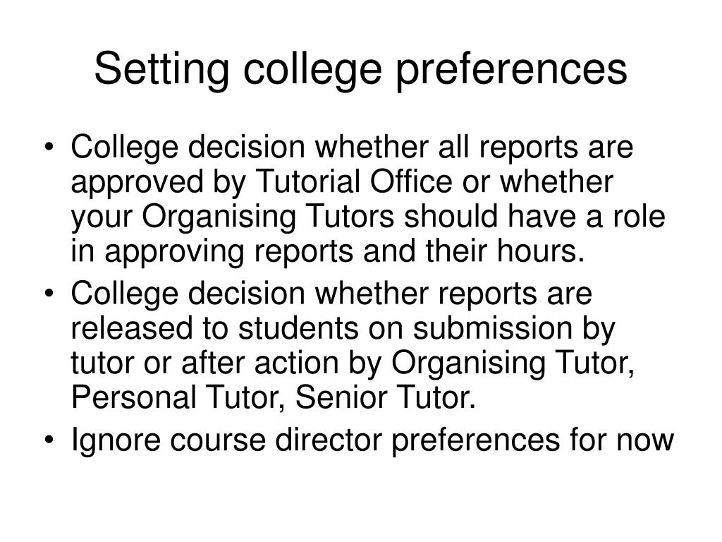 Setting college preferences