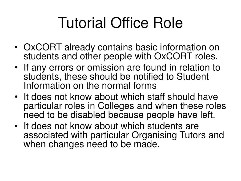 Tutorial Office Role