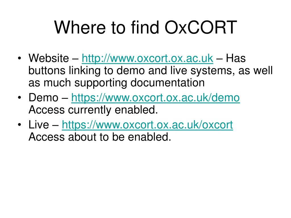 Where to find OxCORT