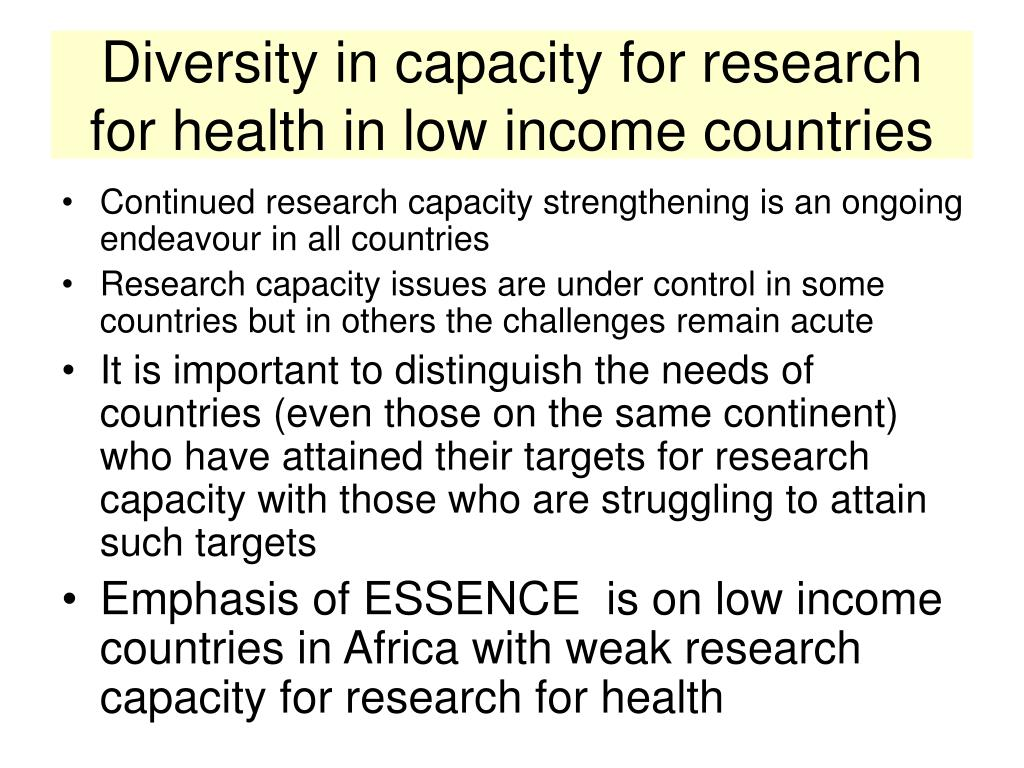 Diversity in capacity for research for health in low income countries