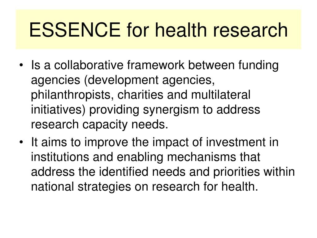 ESSENCE for health research