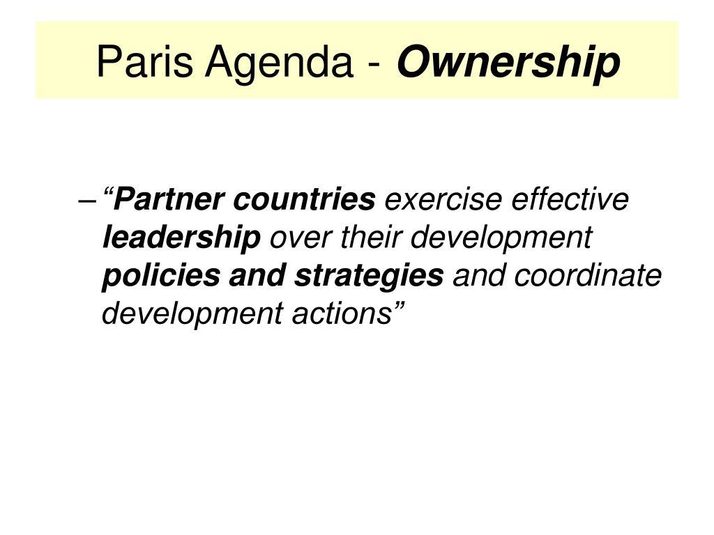 Paris Agenda -