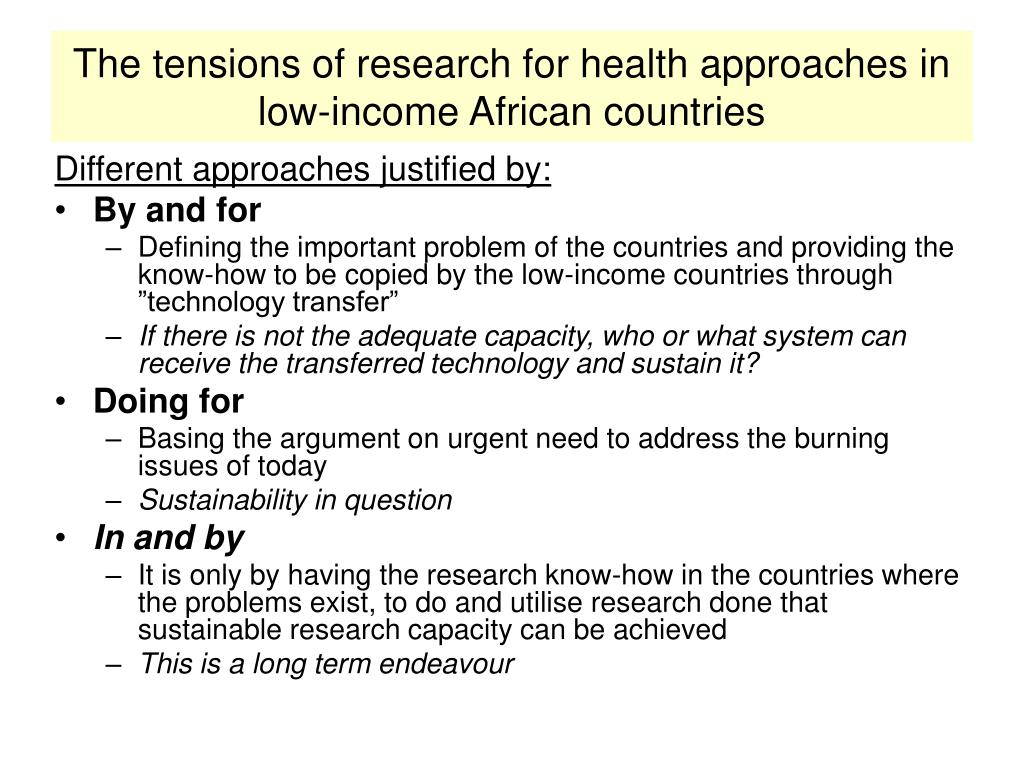 The tensions of research for health approaches in low-income African countries