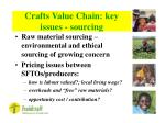 crafts value chain key issues sourcing
