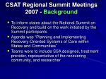 csat regional summit meetings 2007 background