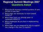 regional summit meetings 2007 questions asked