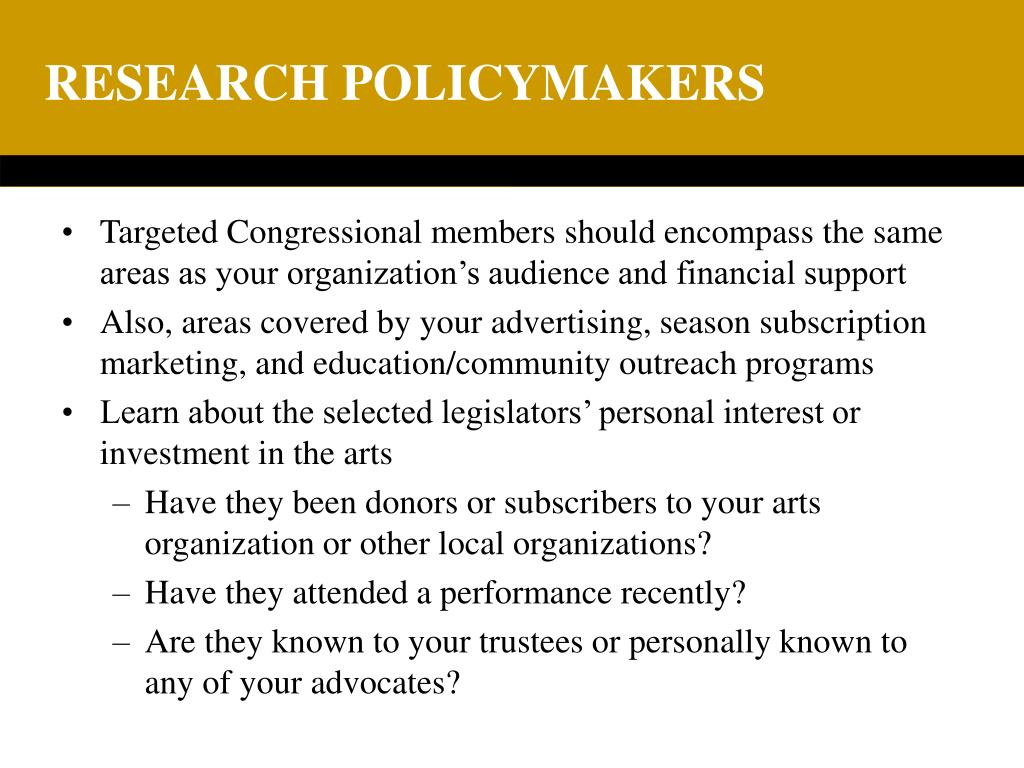 RESEARCH POLICYMAKERS