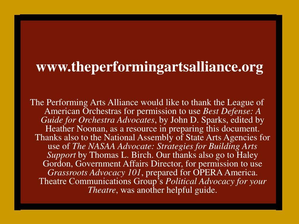 www.theperformingartsalliance.org