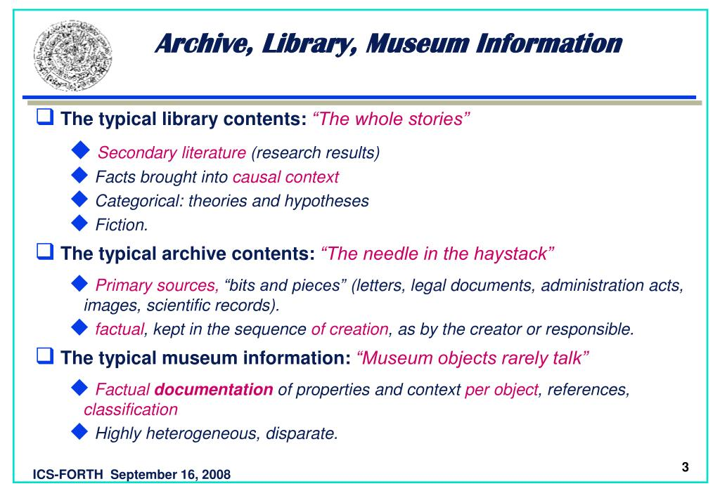Archive, Library, Museum Information
