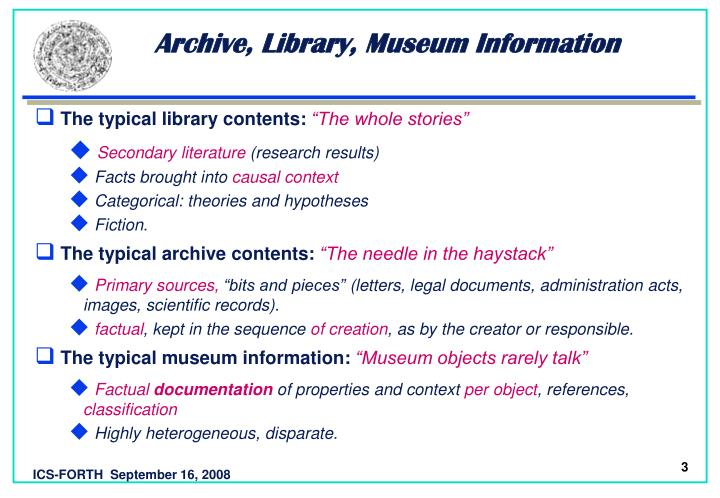 Archive library museum information