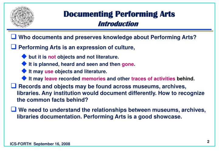 Documenting performing arts introduction