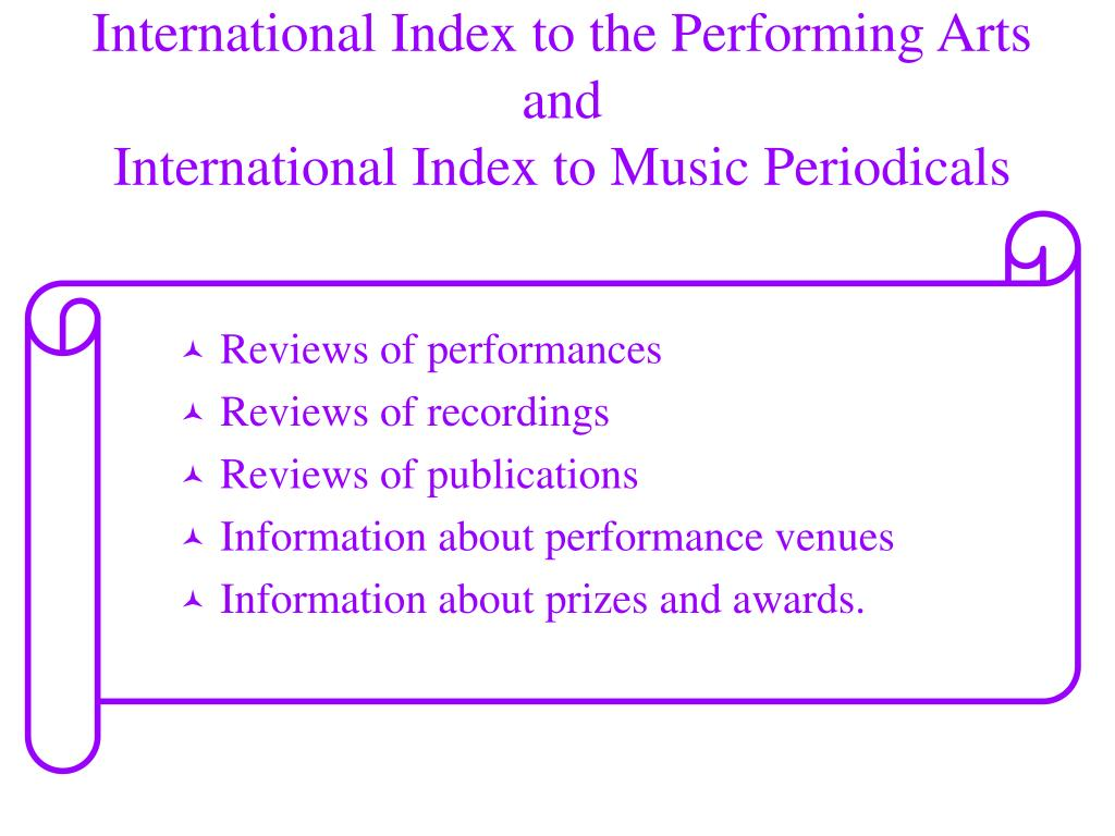International Index to the Performing Arts
