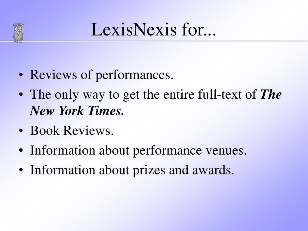 LexisNexis for...