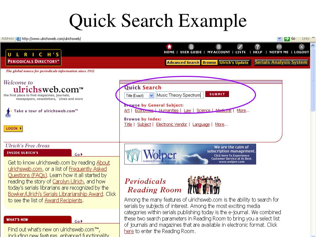 Quick Search Example