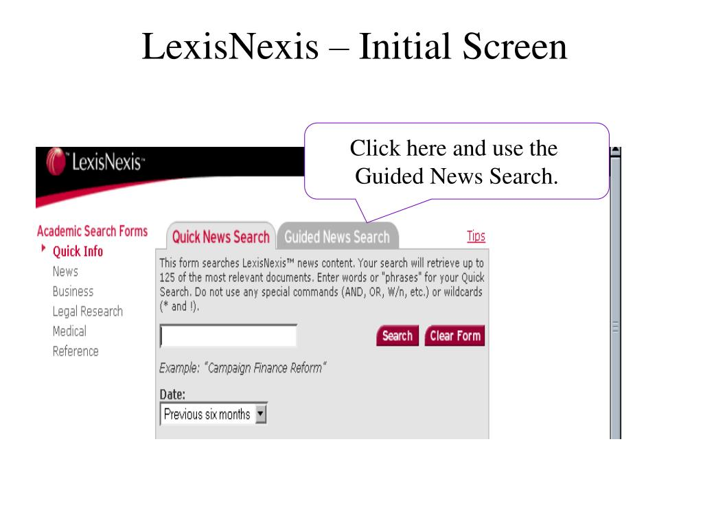 LexisNexis – Initial Screen