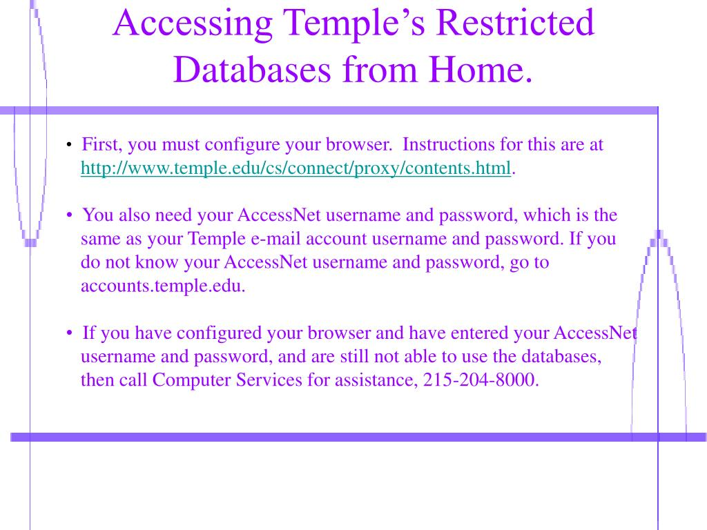 Accessing Temple's Restricted Databases from Home.