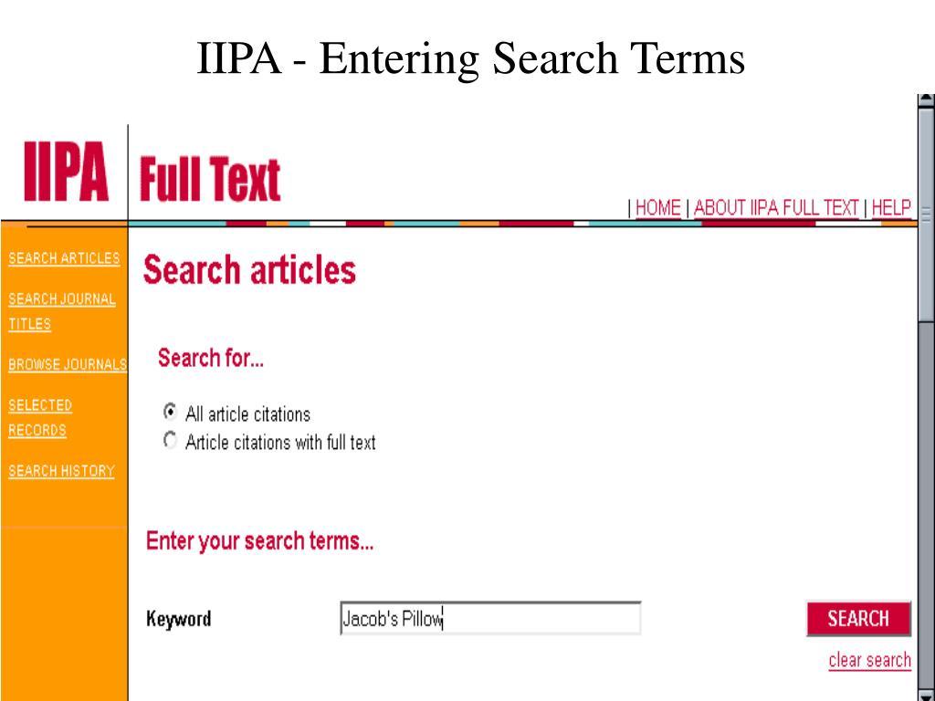 IIPA - Entering Search Terms